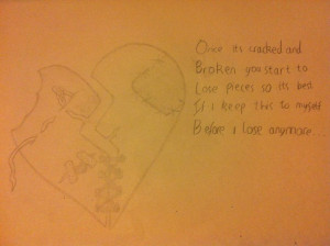 Damaged Heart Drawing and Quote by Drazmus