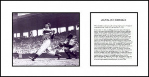 Joe Dimaggio Swinging Framed Photograph With Farewell Retirement