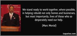 We stand ready to work together, where possible, in helping rebuild ...