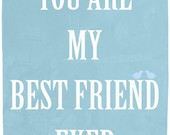 Best friends art print, emotional quote wall art, gift for a friend, h ...