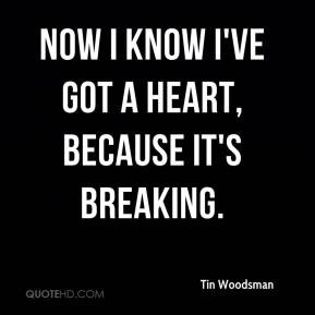Now I know I've got a heart, because it's breaking.