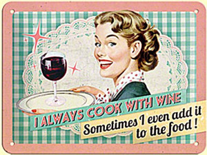 Cook With Wine funny metal sign (na 2015)