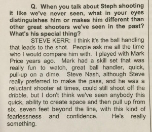 Steve Kerr Explains What Makes Steph Curry Special