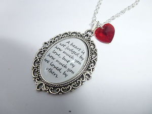 ... OF OZ A HEART IS NOT JUDGED QUOTE & HEART CHARM SILVER CAMEO NECKLACE