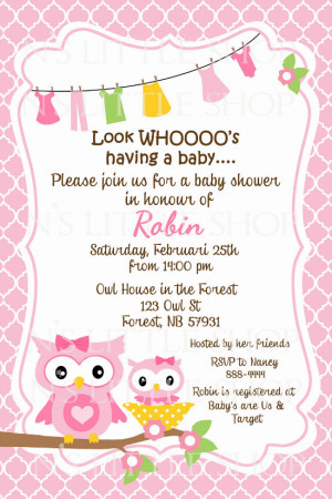 Baby Shower Invitation Wordings for an Owl Baby Shower
