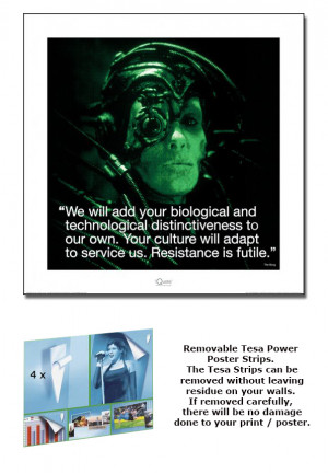 STAR-TREK-TNG-FRAMED-ART-PRINT-POSTER-BORG-QUOTE-SIZE-16-x-16