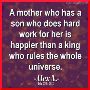 Mother And Son Quotes And Sayings A mother who has a son who