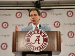 New UA Head Football Coach Nick Saban speaks to the media at his ...