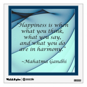 Happiness Harmony Gandhi Quote Wall Decal