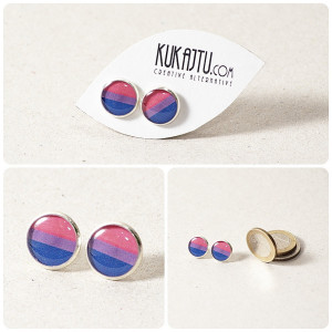 Bisexual Flag Bisexual pride stud earrings
