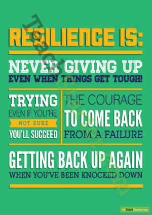 ... students to build resilience resilience is never giving up even when