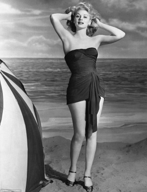 Actress Lucille Ball, turns heads on an LA beach in the strapless and ...