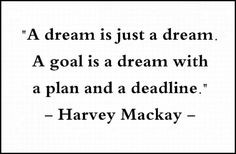 goal is a dream with a plan and a deadline.
