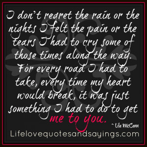Don't Regret The Rain Or The Nights..