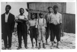 Six black workers in the Alexandria (Va.) Glass Factory.