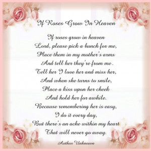 If Roses Grow In Heaven...Miss you, Mom!