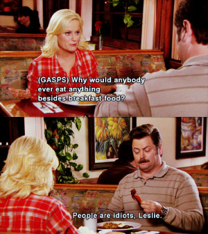 Parks and Recreation Leslie and Ron eat breakfast