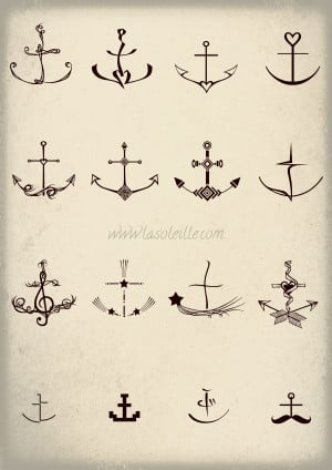 anchor tattoos set two by sabinesusanne designs interfaces tattoo ...