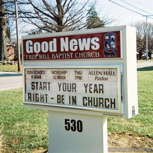Church Sign for Good News Free Will Baptist Church - Photo #2764