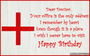 Cute birthday card wish for doctor