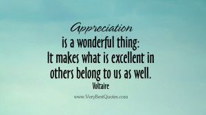 Appreciation is a wonderful thing: It makes what is excellent in