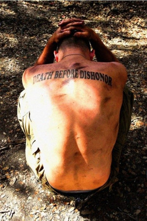 Death before dishonor back tattoo #usmc