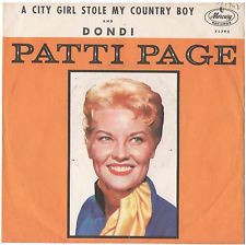 PATTI PAGE PICTURE SLEEVE ONLY CITY GIRL STOLE MY COUNTRY BOY PS