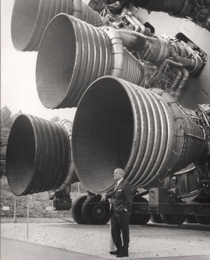 Wernher von Braun in front of Saturn S1-B BoosterRocket Motors