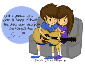 art, boy, cartoon, couple, cute, girl, guitar, love, typography