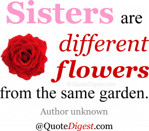 Sister quote: Sisters are different flowers from the same garden ...