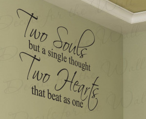 Our Hearts Beat as One Love Removable Wall Decal Art