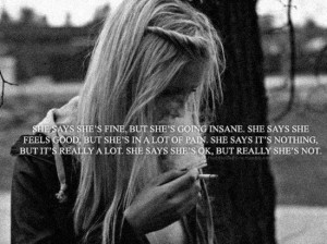 ... pain. She says it's nothing but it's really a lot. she says she's okay