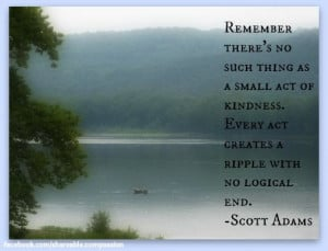 ... creates a ripple with no logical end. - Scott Adams #kindness #river