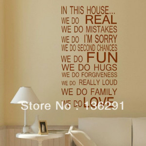DIY LARGE QUOTE HOUSE RULES FAMILY LOVE FUN ART WALL STICKER STENCIL ...
