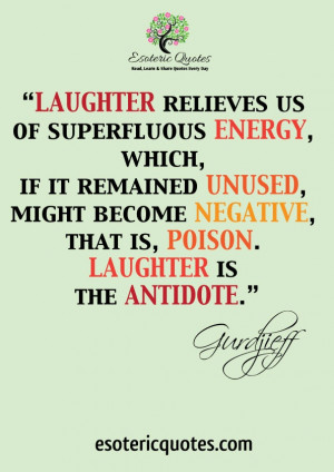 Laughter relieves us of superfluous energy, which, if it remained ...
