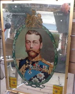 Vintage advertising mirror with King George V & Colman's mustard