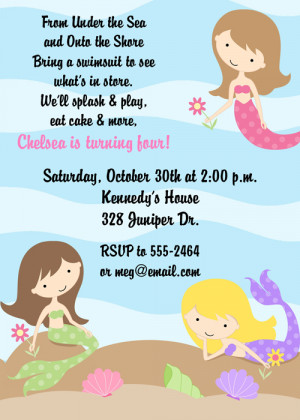 Shop our Store > Under the Sea Mermaids Birthday Party Invitations