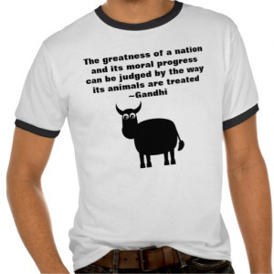 Gandhi Animal Rights Quote Black Bull Tee Shirt