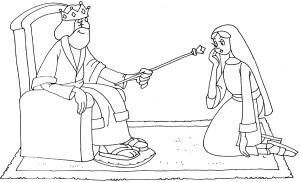 Coloring Pages - Ahasuerus Put Out the Rod of Gold to Esther
