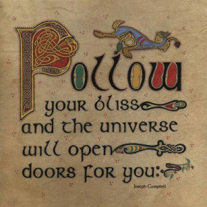 Follow your bliss and the universe will open doors for you. ~Joseph ...