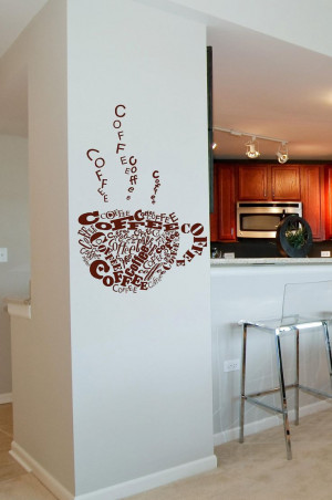 Swirling coffee Cup Large Vinyl Lettering wall words quotes graphics ...