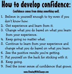 How to develop confidence tips via www.FlowingwithChange.com