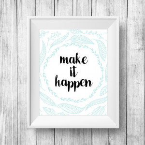 "Inspirational Quote Wall Decor ""Make It Happen"