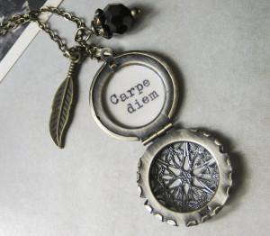 locket necklace inspirational quote carpe diem seize the day necklace ...