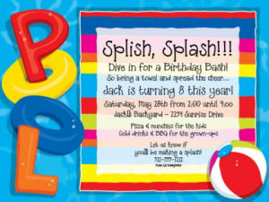 Party At The Pool Party Invitations
