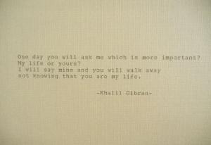 GIBRAN Love Poem Love Quote Khalil Gibran Quote Hand Typed Quote ...