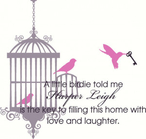 Wall Decal Quote Nursery Bird Cage with 3 Birds and Skeleton Key with ...