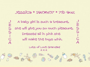 Family quotes new born baby girl gift with lily rose graphics frame