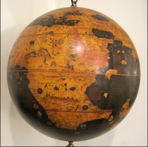 Zipangu [Japan] on the facsimile globe produced by Greaves & Thomas
