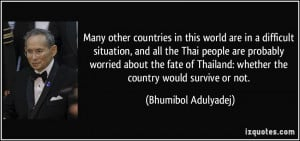 Many other countries in this world are in a difficult situation, and ...